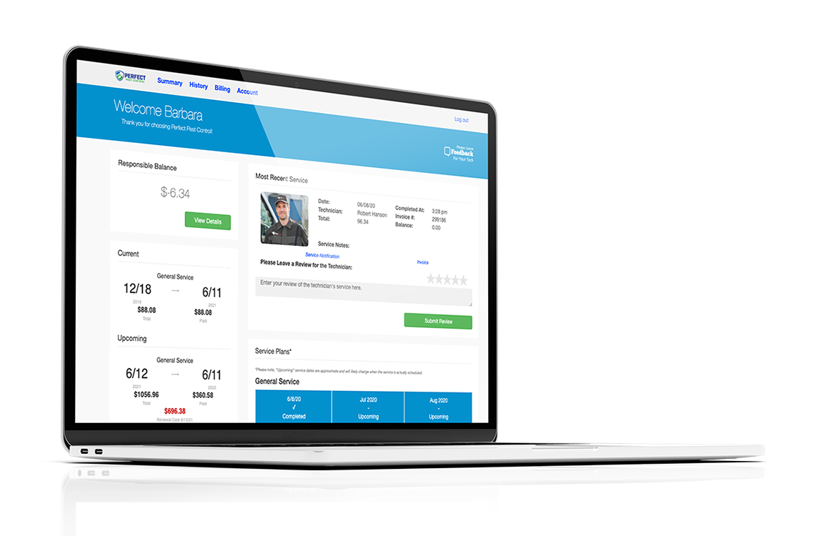 Responsive Customer Pest Portal